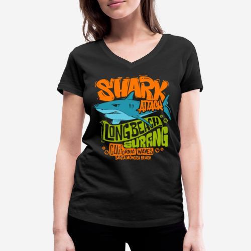 shark surf surfing california - Frauen Bio-T-Shirt mit V-Ausschnitt von Stanley & Stella