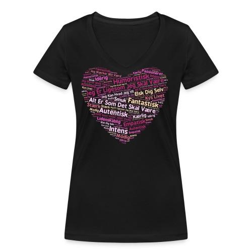Hjerte - Økologisk Stanley & Stella T-shirt med V-udskæring til damer