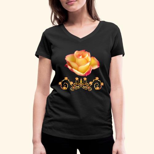 orange Rose, Ornament, Rosen, Blumen, Blüten, edel - Frauen Bio-T-Shirt mit V-Ausschnitt von Stanley & Stella