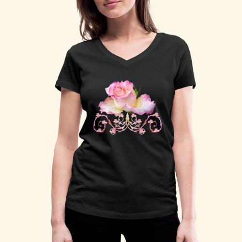 Rose pink, Ornament, Rosen, Blumen, Blüten, floral - Frauen Bio-T-Shirt mit V-Ausschnitt von Stanley & Stella
