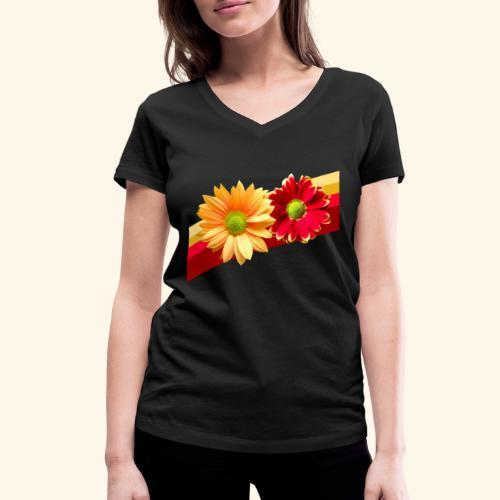 Blumen in den Farben rot und gelb, Blüten, floral - Frauen Bio-T-Shirt mit V-Ausschnitt von Stanley & Stella