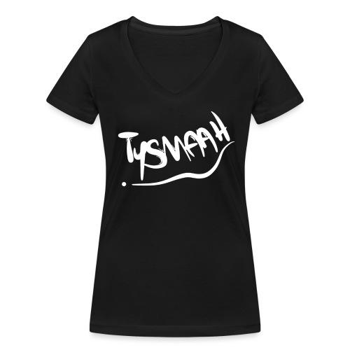 Logo blanc - TYSMAAH - T-shirt bio col V Stanley & Stella Femme
