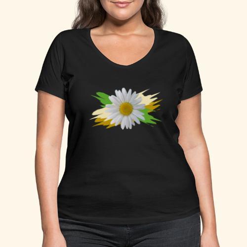Margeriten Blüte, Blumen, floral, Gänseblümchen - Frauen Bio-T-Shirt mit V-Ausschnitt von Stanley & Stella