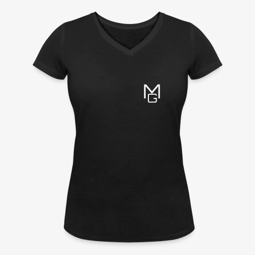 White MG Overlay - Women's Organic V-Neck T-Shirt by Stanley & Stella