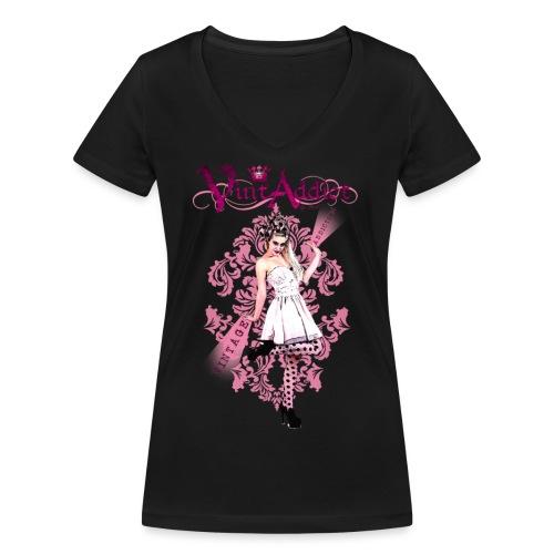 VintAddict Pin up Pink - T-shirt bio col V Stanley & Stella Femme
