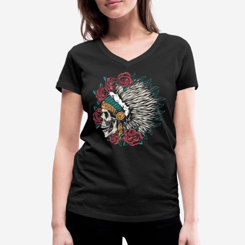 indian skull roses - Frauen Bio-T-Shirt mit V-Ausschnitt von Stanley & Stella