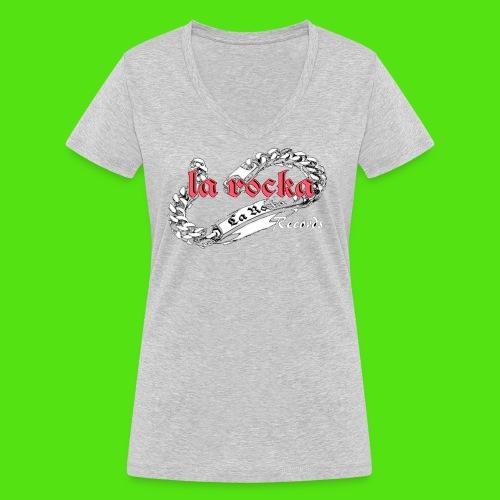 La Rocka black'n'pink tsp - Women's Organic V-Neck T-Shirt by Stanley & Stella