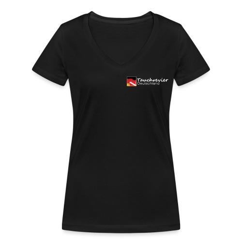 Tauchrevier Deutschland Logo classic weiß - Frauen Bio-T-Shirt mit V-Ausschnitt von Stanley & Stella