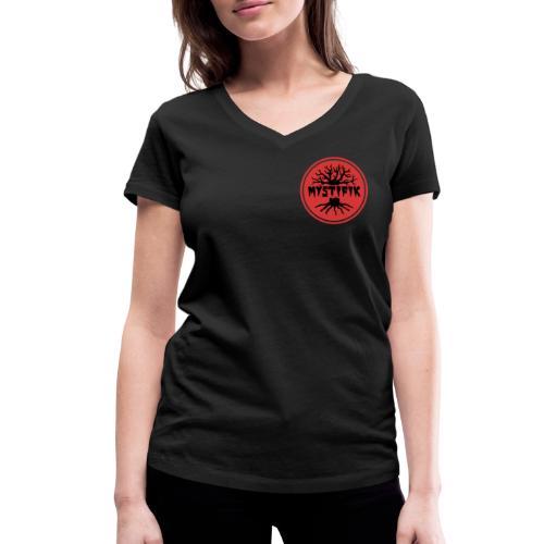 sort logo på rød baggrund med rød ring - Økologisk Stanley & Stella T-shirt med V-udskæring til damer