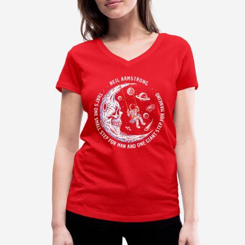 moon astronaut stars space - Frauen Bio-T-Shirt mit V-Ausschnitt von Stanley & Stella