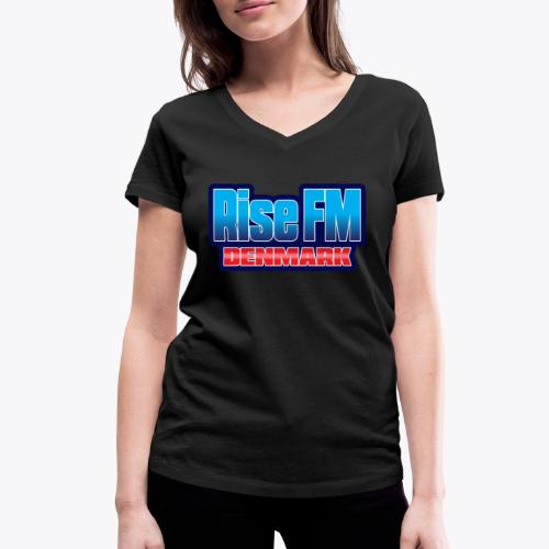 Rise FM Denmark Text Only Logo - Women's Organic V-Neck T-Shirt by Stanley & Stella