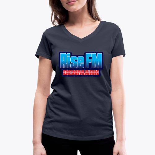 Rise FM Denmark Text Only Logo - Women's Organic V-Neck T-Shirt by Stanley & Stella