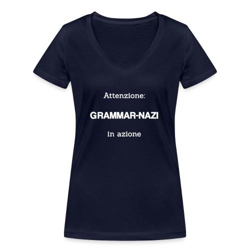 Attenzione: Grammar-nazi in azione - bianco - T-shirt ecologica da donna con scollo a V di Stanley & Stella