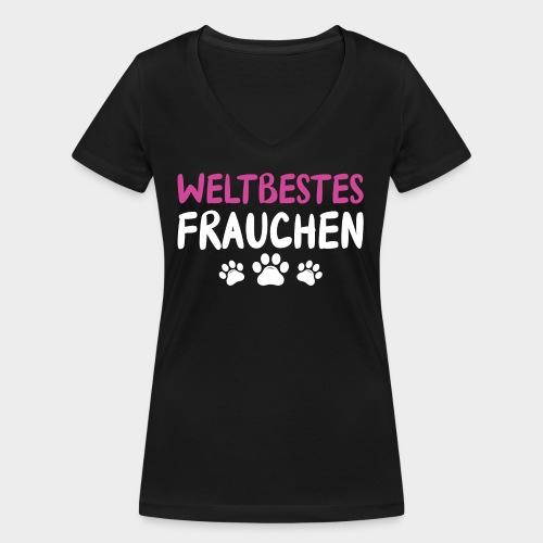 Weltbestes Frauchen Hundeliebe Hund - Frauen Bio-T-Shirt mit V-Ausschnitt von Stanley & Stella