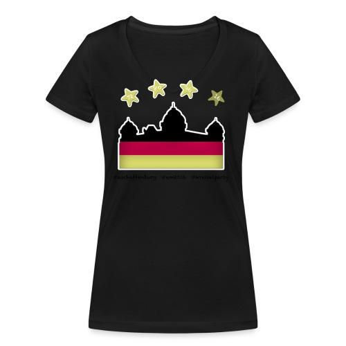 Fanshirt__schwarz - Frauen Bio-T-Shirt mit V-Ausschnitt von Stanley & Stella
