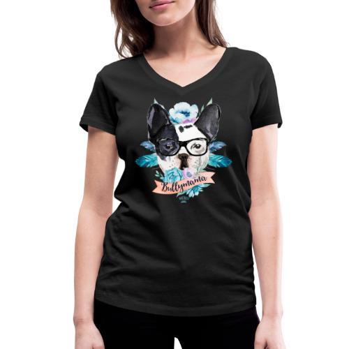Bullymama Blumen - Französische Bulldogge - Frauen Bio-T-Shirt mit V-Ausschnitt von Stanley & Stella