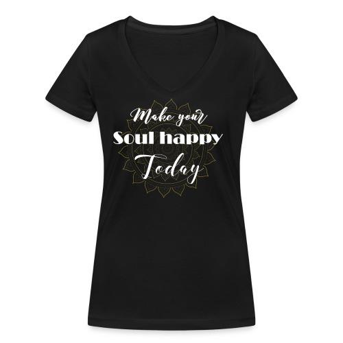 Make your soul happy today - white mandala - Frauen Bio-T-Shirt mit V-Ausschnitt von Stanley & Stella