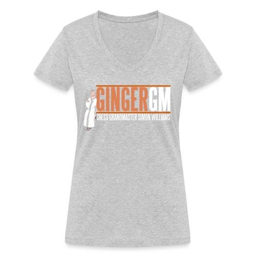 Ginger GM White Logo - Women's Organic V-Neck T-Shirt by Stanley & Stella