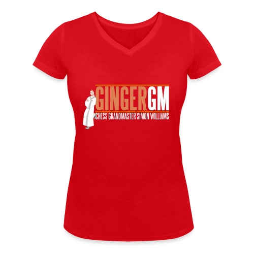Ginger GM White Logo - Women's Organic V-Neck T-Shirt by Stanley & Stella