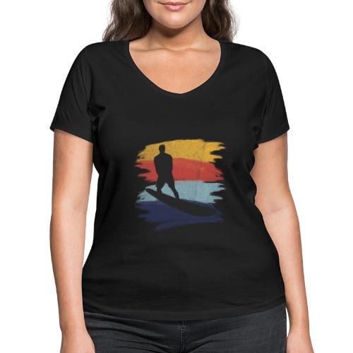 Wellenreiten Retro-Stil, Vintage - Frauen Bio-T-Shirt mit V-Ausschnitt von Stanley & Stella