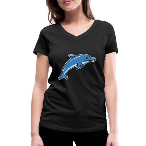 Delfin, Tier, Comic, süß, Kawaii - Frauen Bio-T-Shirt mit V-Ausschnitt von Stanley & Stella