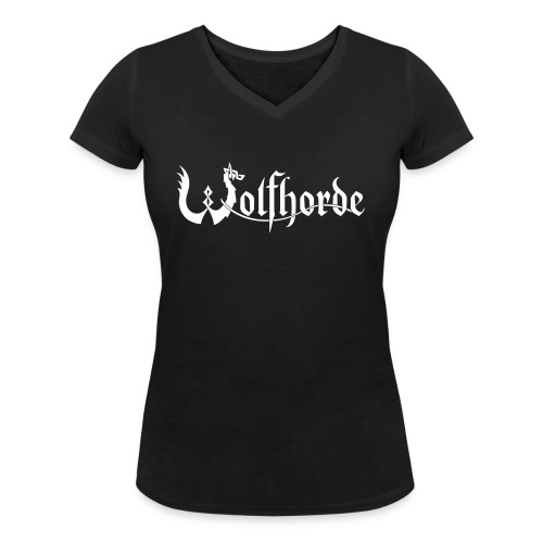 wolfhorde vector black - Women's Organic V-Neck T-Shirt by Stanley & Stella