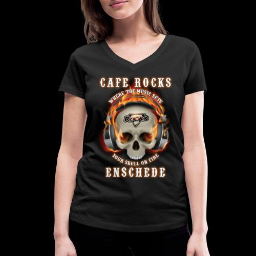 Skull On Fire - Vrouwen bio T-shirt met V-hals van Stanley & Stella