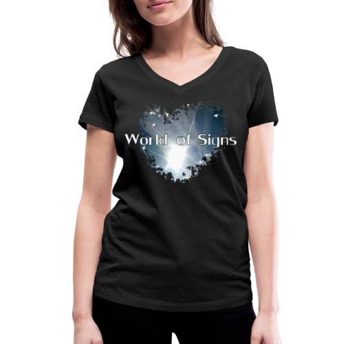World of Signs Heart - Women's Organic V-Neck T-Shirt by Stanley & Stella