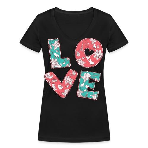 loveblume2 png - Frauen Bio-T-Shirt mit V-Ausschnitt von Stanley & Stella