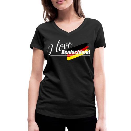 I love Deutschland - Frauen Bio-T-Shirt mit V-Ausschnitt von Stanley & Stella