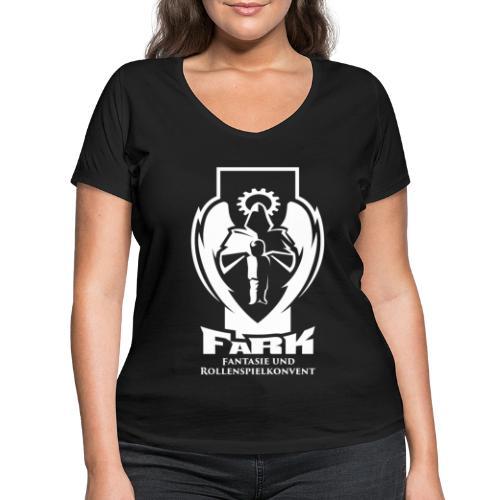 fark_logo_outline_white - Frauen Bio-T-Shirt mit V-Ausschnitt von Stanley & Stella