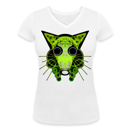 strange head of a rat in punk style - Women's Organic V-Neck T-Shirt by Stanley & Stella