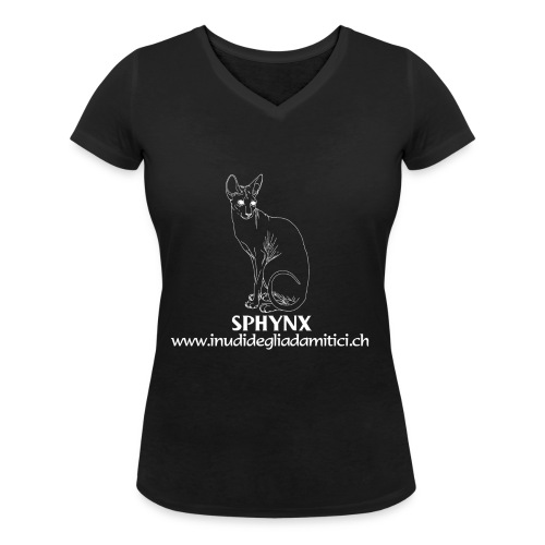logo allevamento capra sphynx n 2 bianco png - T-shirt ecologica da donna con scollo a V di Stanley & Stella