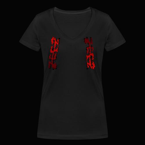 zeez rouge ombre noir abimé - T-shirt bio col V Stanley & Stella Femme