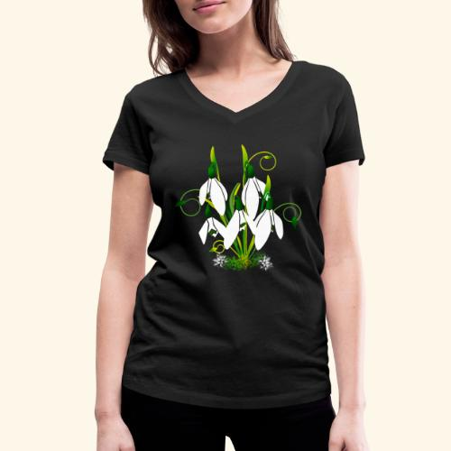 Schneeglöckchen, Blumen, Blüten, floral, Ornamente - Frauen Bio-T-Shirt mit V-Ausschnitt von Stanley & Stella