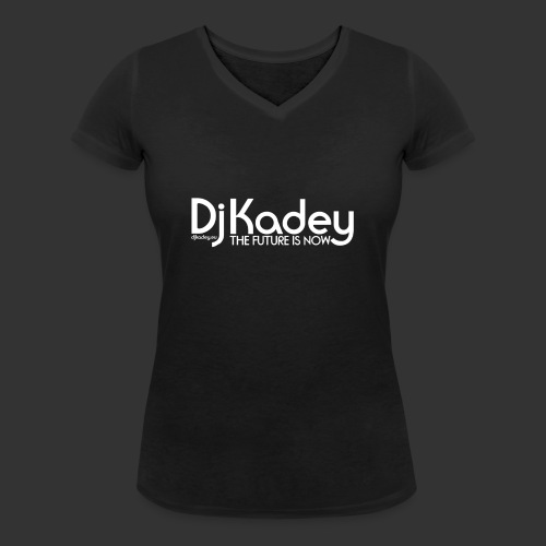 White Dj Kadey Logo - T-shirt bio col V Stanley & Stella Femme