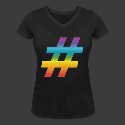 rainbow hash include - Women's Organic V-Neck T-Shirt by Stanley & Stella