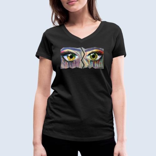 Open Eyes Berlin PopArt ickeshop BachBilder - Frauen Bio-T-Shirt mit V-Ausschnitt von Stanley & Stella
