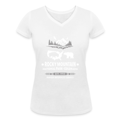 Rocky Mountain Nationalpark Berg Bison Grizzly Bär - Women's Organic V-Neck T-Shirt by Stanley & Stella