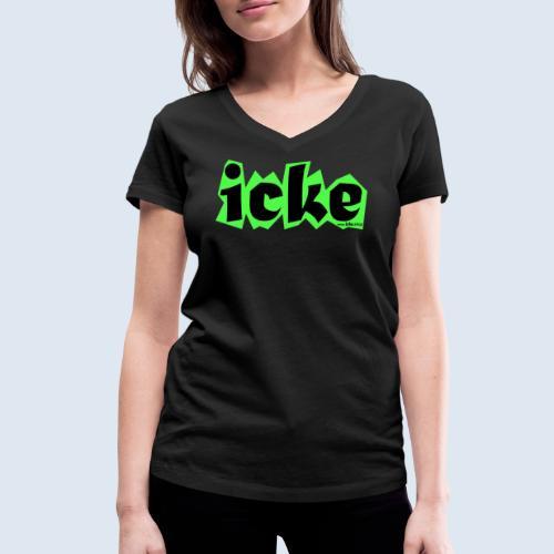 """Berliner Original Mundart """"icke"""" PopArt Design - Frauen Bio-T-Shirt mit V-Ausschnitt von Stanley & Stella"""