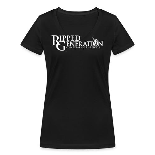 Ripped Generation Tekstilogo - Stanley & Stellan naisten v-aukkoinen luomu-T-paita