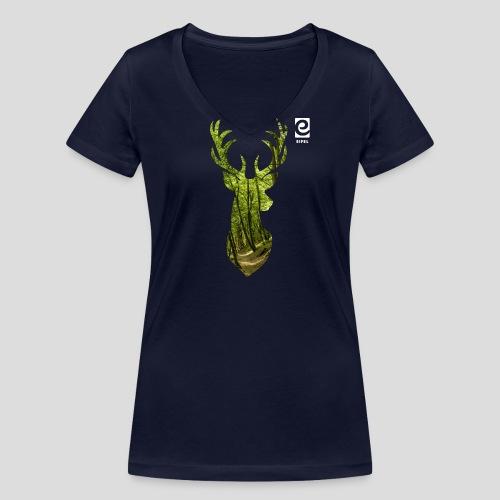 Eifel-Hirsch - weiß - Frauen Bio-T-Shirt mit V-Ausschnitt von Stanley & Stella