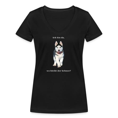 Husky Welpen mit bezaubernden Augen - Frauen Bio-T-Shirt mit V-Ausschnitt von Stanley & Stella