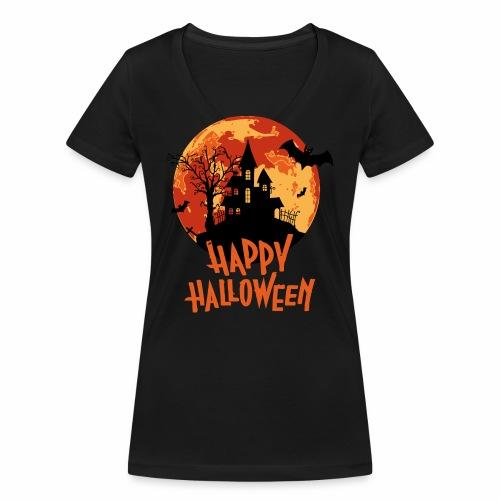 Bloodmoon Haunted House Halloween Design - Frauen Bio-T-Shirt mit V-Ausschnitt von Stanley & Stella