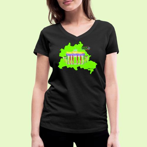 Berlin ist grün und bunt / BerlinLightShow - Frauen Bio-T-Shirt mit V-Ausschnitt von Stanley & Stella