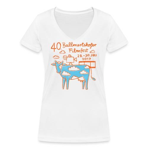 170415 B Filmfest Kuh rote Schrift png - Frauen Bio-T-Shirt mit V-Ausschnitt von Stanley & Stella