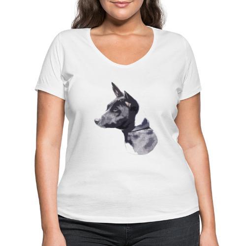 basenji black - Økologisk Stanley & Stella T-shirt med V-udskæring til damer