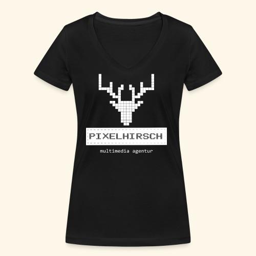 PIXELHIRSCH - high contrast - Frauen Bio-T-Shirt mit V-Ausschnitt von Stanley & Stella