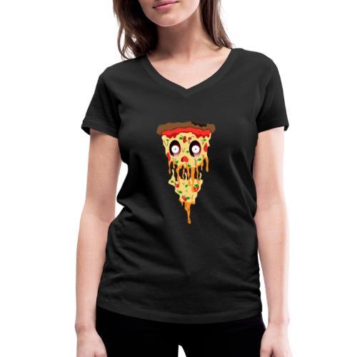Schockierte Horror Pizza - Frauen Bio-T-Shirt mit V-Ausschnitt von Stanley & Stella