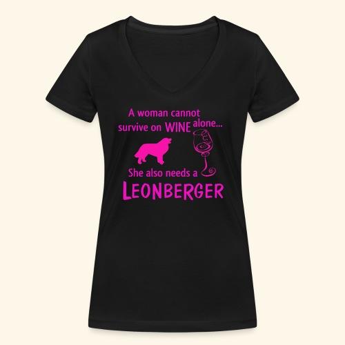 Wine&Leonberger - Ekologisk T-shirt med V-ringning dam från Stanley & Stella